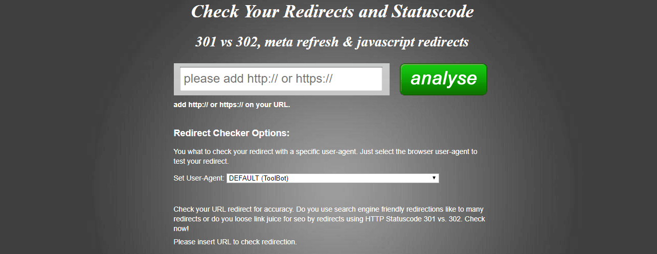 Как сделать 301 редирект - redirect checker