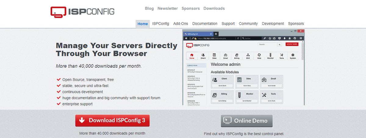Бесплатные панели управления хостингом - ISP Config