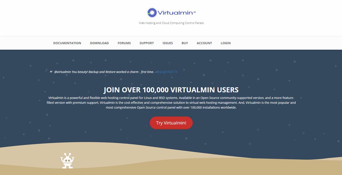 Бесплатные панели управления хостингом - virtualmin