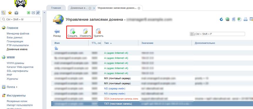 Добавление DNS записи
