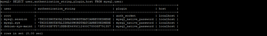 SELECT user,authentication_string,plugin,host FROM mysql.user;