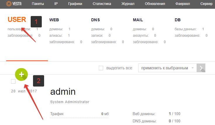 настройка VestaCP - добавление сайта