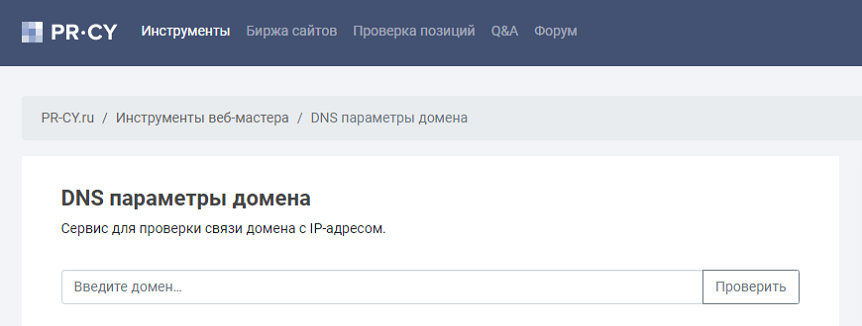 Проверка DNS-записей домена - pr-cy.ru