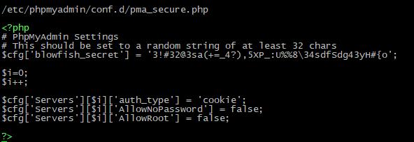 PhpMyAdmin Debian - Ограничение доступа для входа пользователю root