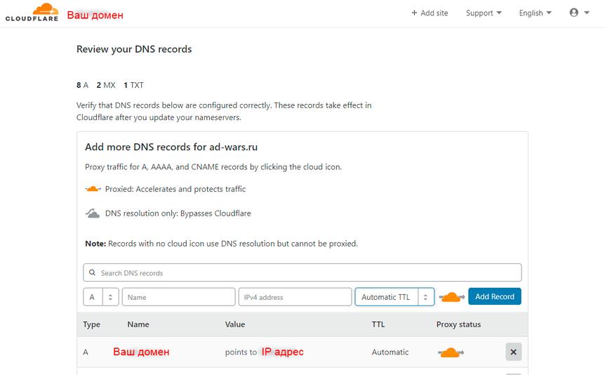 Добавление сайта на CloudFlare