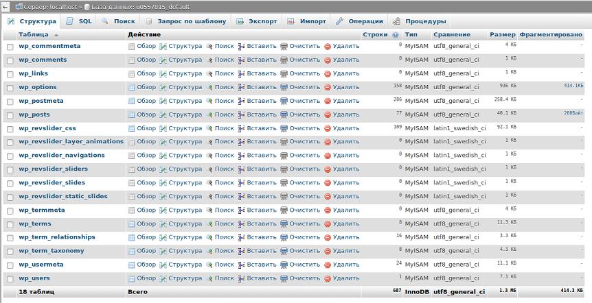 Отсутствие таблиц в базе данных